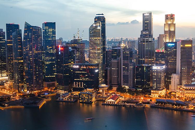 Вечерний Сингапур с высоты птичьего полета, фото 2